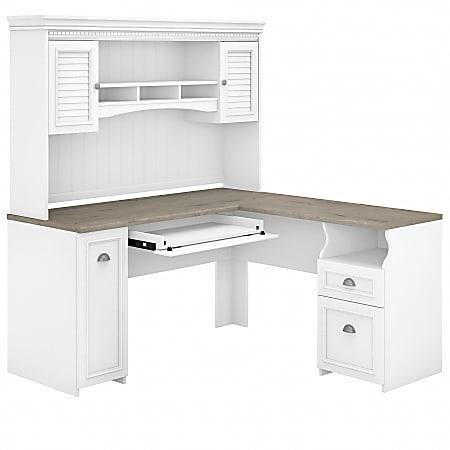 "Bush Furniture Fairview 60""W L-Shaped Desk With Hutch, Shiplap Gray/Pure White, Standard Delivery"