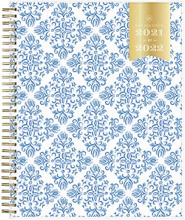 "Blue Sky™ Day Designer Monthly Planner, 8"" x 10"", Serenity Tile, July 2021 To June 2022, 127393"