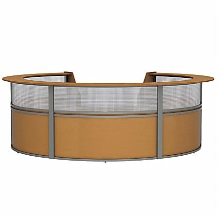 "Linea Italia, Inc 142""W 5-Unit Curved Reception Desk, Maple"