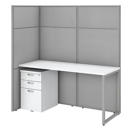 """Bush Business Furniture Easy Office 60""""W Cubicle Desk With File Cabinet And 66""""H Open Panels Workstation, Pure White/Silver Gray, Standard Delivery"""