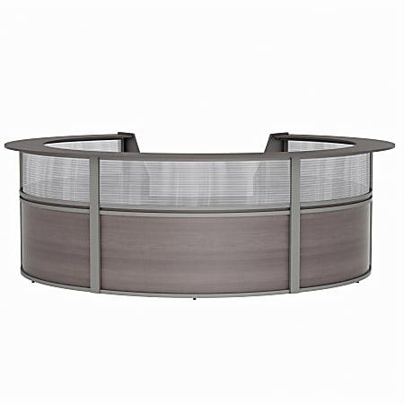 "Linea Italia, Inc 142""W 5-Unit Curved Reception Desk, Mocha"