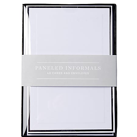 """Sincerely A Collection by C.R. Gibson® Paneled Informal Notes, 3 1/2"""" x 4 7/8"""", White, Pack Of 40"""