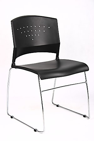 Boss Poly Stackable Chrome Chair, Black/Silver