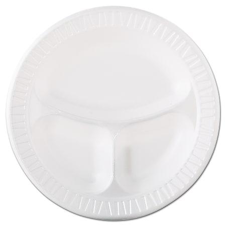 "Dart® Quiet Classic® 3-Compartment Laminated Foam Plates, 10 1/4"", White, 125 Plates Per Pack, Case Of 4 Packs"