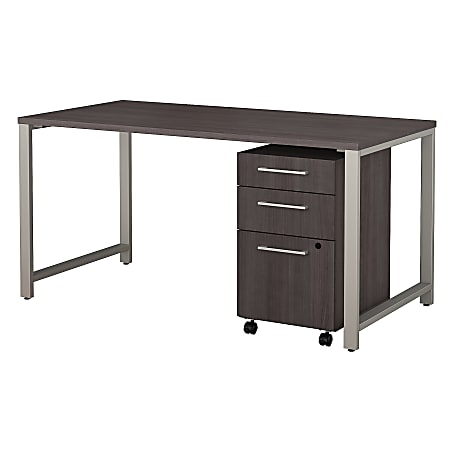 """Bush Business Furniture 400 Series Table Desk with 3 Drawer Mobile File Cabinet, 60""""W x 30""""D, Storm Gray, Standard Delivery"""