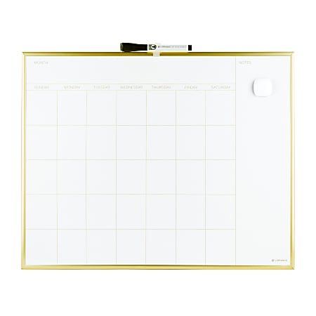 """U Brands Magnetic Dry-Erase White Calendar Whiteboard, 16"""" x 20"""", Steel Frame With Gold Finish"""