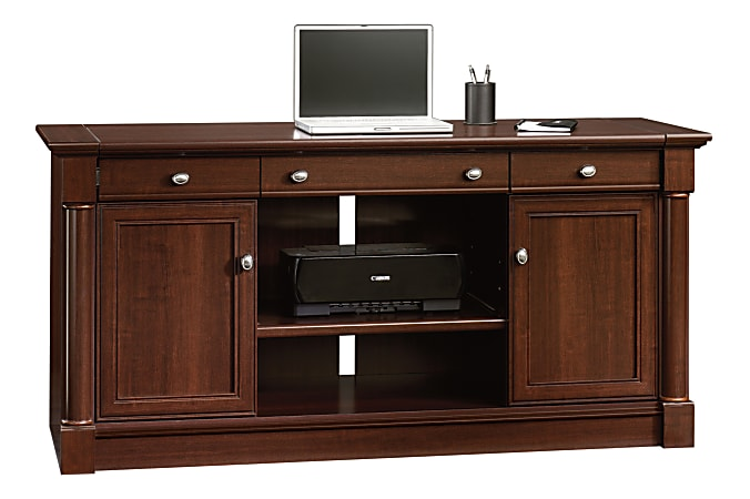 "Sauder® Palladia Collection 62""W Computer Credenza With Slide-Out Desktop, Select Cherry"