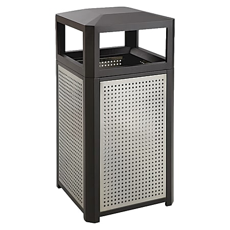 """Safco Evos Series Side-Opening Steel Waste Receptacle, 15-Gallon, 33 1/4""""H x 16""""W x 16""""D, Black/Gray"""