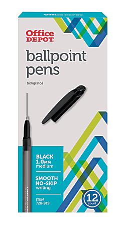 Office Depot® Brand Tinted Ballpoint Stick Pens, Medium Point, 1.0 mm, Black Barrel, Black Ink, Pack Of 12
