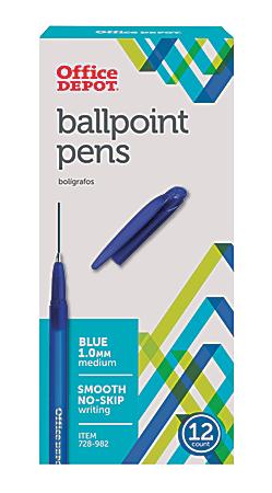 Office Depot® Brand Tinted Ballpoint Stick Pens, Medium Point, 1.0 mm, Blue Barrel, Blue Ink, Pack Of 12