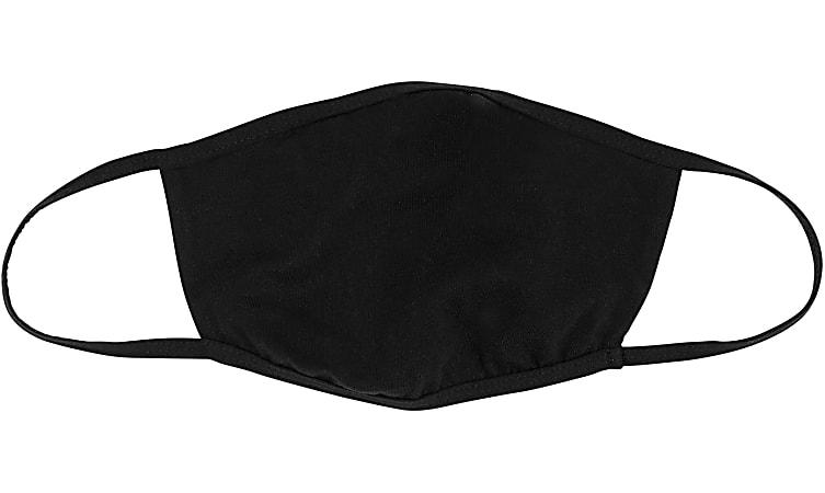 Bella + Canvas Reusable 2-Ply Cloth Face Masks, Black, M/L, Pack Of 5