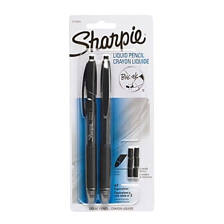 Sharpie® Liquid Pencil, 0.5 mm, Opaque Black Barrels, Pack Of 2 + 6 Erasers