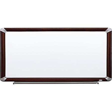 """3M™ Porcelain Magnetic Dry-Erase Whiteboard, 48"""" x 96"""", Aluminum Frame With Mahogany Finish"""