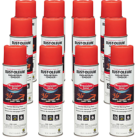 Industrial Choice Color Precision Line Marking Paint - 17 fl oz - 12 / Carton - Safety Red