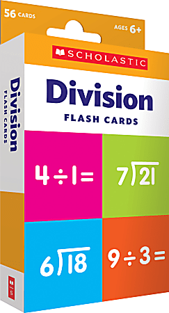 """Scholastic Division Flash Cards, 6-5/16""""H x 3-7/16""""W, Pack Of 56 Cards"""