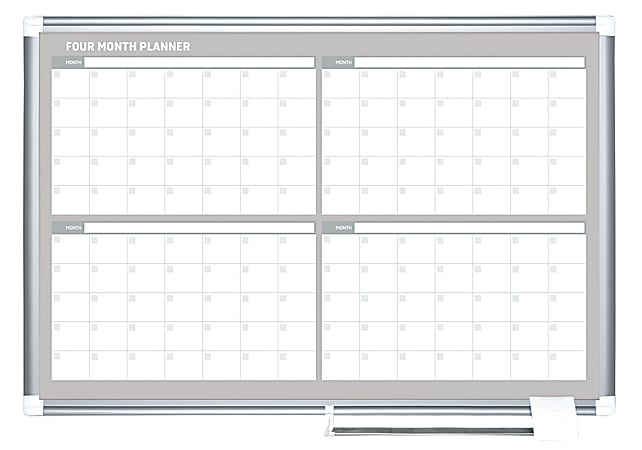 """MasterVision® Dry-Erase Calendar Whiteboard With 4-Month Grid, 24"""" x 36"""", Metal Frame With Gray Finish"""