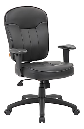 Boss Office Products Leather Mid-Back Task Chair, Black