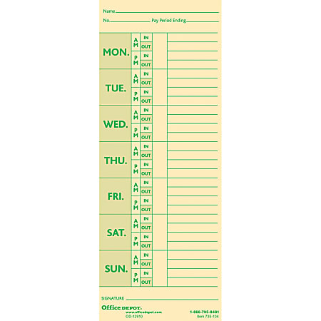 """Office Depot® Brand Time Cards With Deductions, Weekly, Monday–Sunday Format, 2-Sided, 3 3/8"""" x 8 7/8"""", Manila, Pack Of 100"""