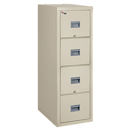 """FireKing® Patriot 31-5/8""""D Vertical 4-Drawer Legal-Size File Cabinet, Metal, Parchment, Dock To Dock Delivery"""