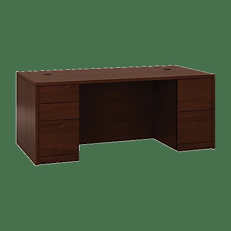 """HON® 10500 Series™ Double-Pedestal Desk, Full Pedestals, 72""""W x 36""""D, Mahogany"""