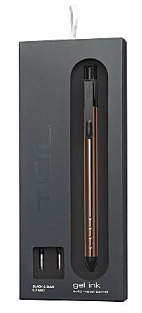 TUL® Fine Writing Solid Metal Barrel Retractable Gel Pen With 2 Refills, Medium Point, 0.7 mm, Rose Gold Barrel, Black/Blue Ink