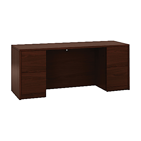 """HON 10500 Series Double Pedestal Credenza with Kneespace - 72"""" x 24"""" x 29.5"""" - 4 x File Drawer(s) - Double Pedestal - Square Edge - Material: Wood - Finish: Laminate, Mahogany"""