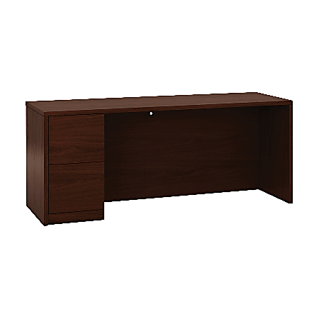 "HON 10700 Series Left-Pedestal Credenza - 72"" x 24"" x 29.5"" x 1.1"" - 2 x File Drawer(s) - Single Pedestal on Left Side - Square Edge - Material: Wood - Finish: Laminate, Mahogany"