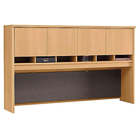 "Bush Business Furniture Components 4 Door Hutch, 72""W, Light Oak, Standard Delivery"
