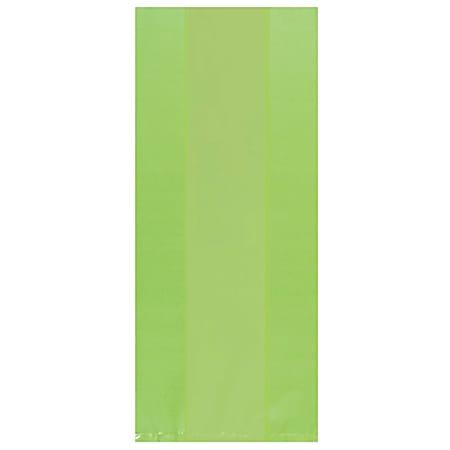 "Amscan Large Plastic Treat Bags, 11-1/2""H x 5""W x 3-1/4""D, Kiwi Green, Pack Of 100 Bags"