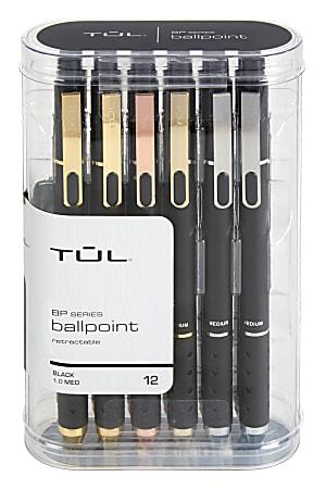 TUL® BP3 Retractable Ballpoint Pens, Medium Point, 1.0 mm, Black Barrel, Black Ink, Pack Of 12 Pens
