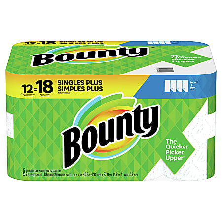 Bounty® Select-A-Size®  2-Ply Paper Towels, 74 Sheets Per Roll, Pack Of 12 Rolls