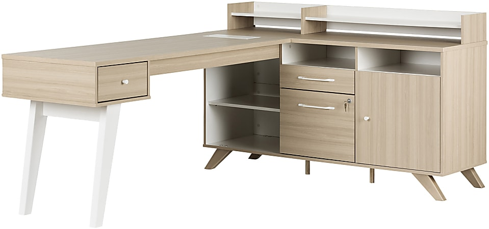 "South Shore Helsy 78""W L-Shaped Desk, Soft Elm/Pure White"