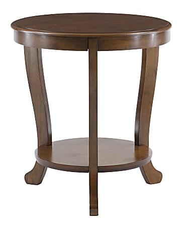 "Powell Heller Side Table With Shelf, 24"" x 22"", Hazelnut"