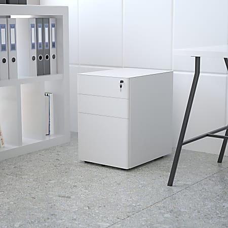"""Flash Furniture Modern 21""""D Vertical 3-Drawer Mobile Locking Filing Cabinet, Metal, White"""