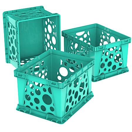 Storex® Mini Crates, Medium Size, School Teal, Pack Of 3