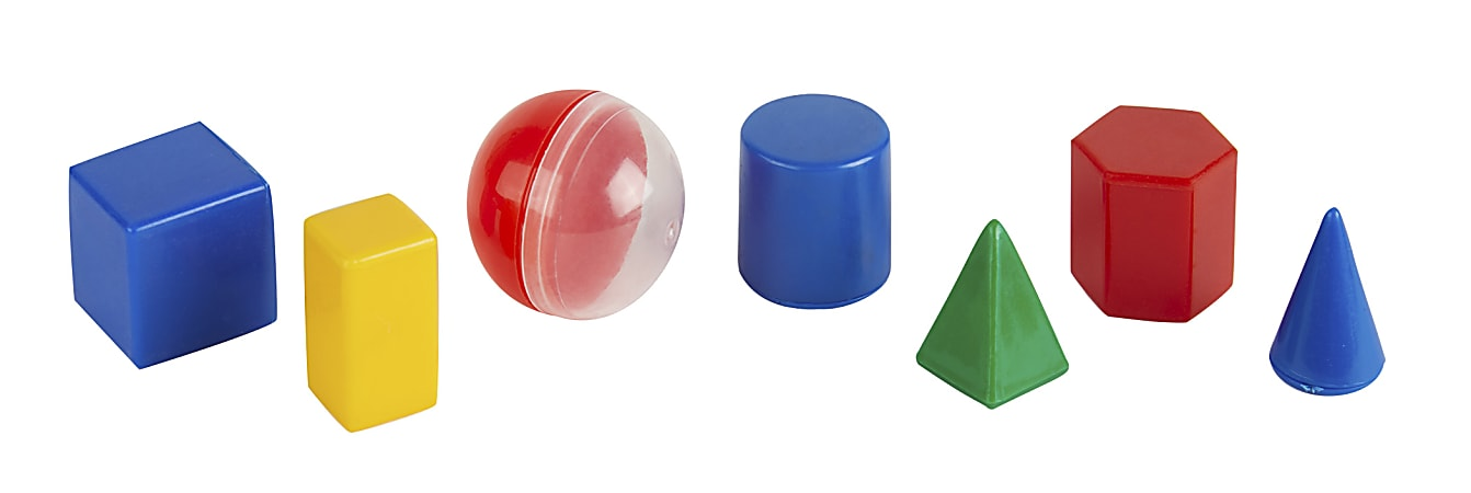 """Office Depot® Brand 1"""" Geometric Solids, Assorted Colors, Pre-K, Set Of 40 Pieces"""