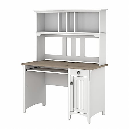Bush® Furniture Salinas Small Computer Desk with Hutch, Shiplap Gray/Pure White, Standard Delivery
