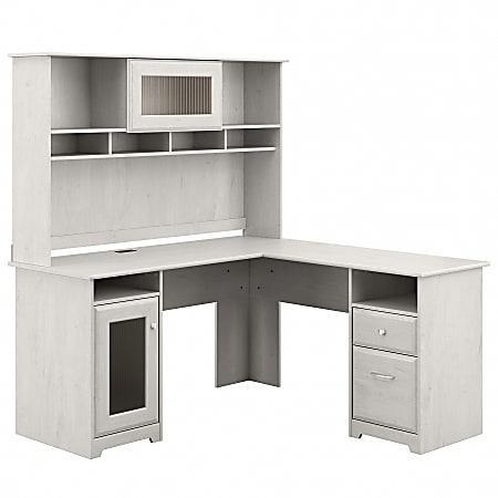 "Bush Furniture Cabot 60""W L-Shaped Computer Desk With Hutch, Linen White Oak, Standard Delivery"