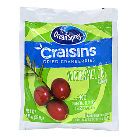 OCEAN SPRAY Craisins Watermelon Flavored Dried Cranberries, 1.16 oz, 200 Count