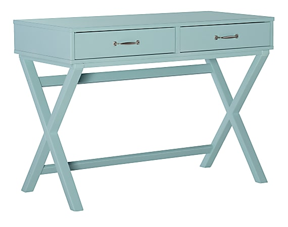 """Linon Frances 42""""W Desk With 2 Drawers, Turquoise"""