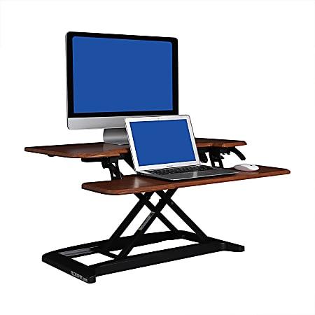 "FlexiSpot AlcoveRiser Sit-To-Stand Desk Converter, 35""W, Mahogany"
