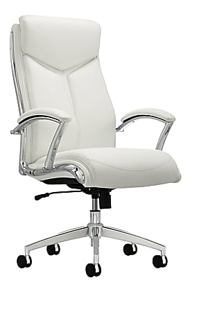 Realspace® Modern Comfort Verismo Bonded Leather High-Back Executive Chair, White/Chrome