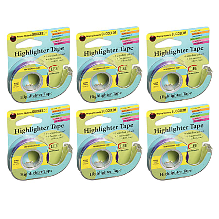 """Lee Products Removable Highlighter Tape, 0.5"""" x 20', Purple, Pack Of 6"""