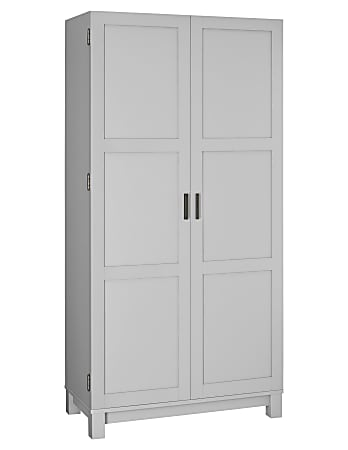 "Ameriwood™ Home Carver 64"" Storage Cabinet, 2 Drawers/6 Shelves, Gray"