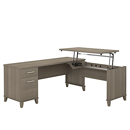"Bush Furniture Somerset 3 Position Sit to Stand L Shaped Desk, 72""W, Ash Gray, Standard Delivery"