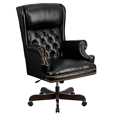Flash Furniture Traditional Tufted Ergonomic Bonded LeatherSoft™ High-Back Swivel Chair, Black/Brown