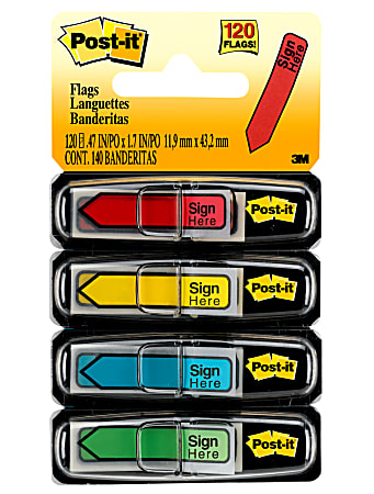 """Post-it® Notes Arrow Flags, """" Sign Here"""", 1/2"""", Assorted Colors, 30 Flags Per Pad, Pack Of 4 Pads"""