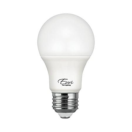 Euri A19 LED Light Bulb, 800 Lumens, 9 Watt, 5000 Kelvin/Daylight White, Case Of 4 Bulbs
