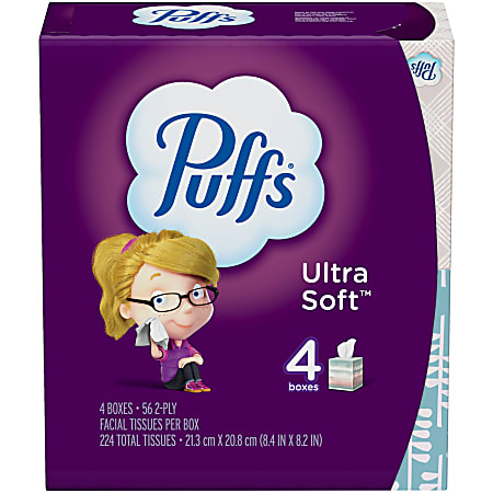 Puffs Ultra-Soft 2-Ply Facial Tissues, White, 56 Tissues Per Cube, Pack Of 4 Cubes
