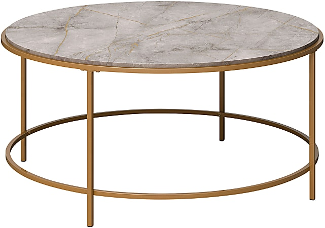 """Sauder® International Lux Coffee Table, 16-3/4""""H x 36""""W x 36""""D, Taupe Gray Deco Stone/Satin Gold"""